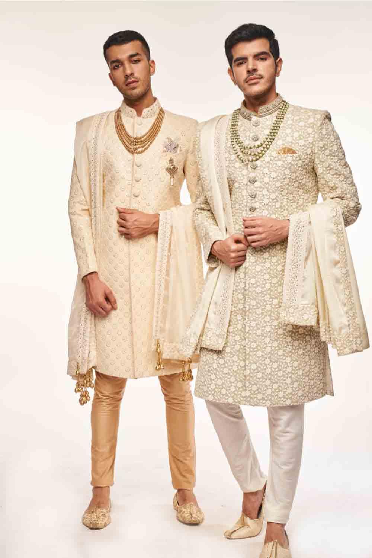 lucknowi elegant off-white sherwani