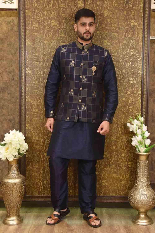 blue menwear jacket kurta set