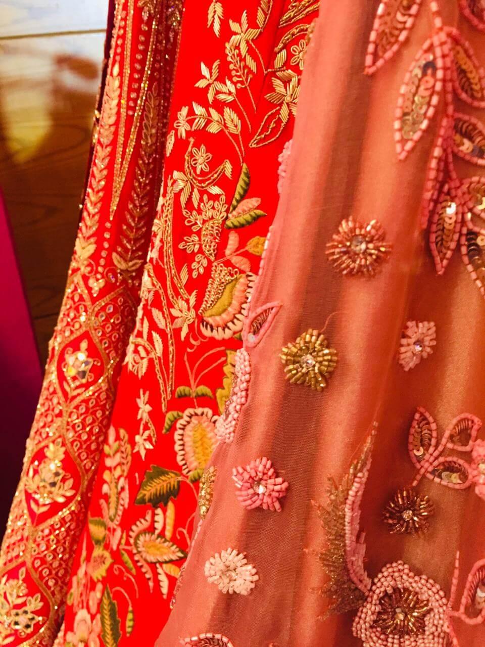 stylish sangeet gown pink drape